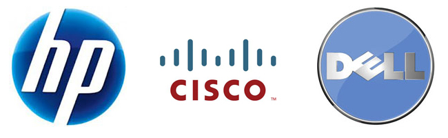 HP Cisco Dell logo 650 x200