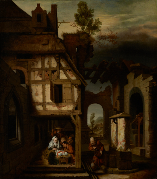 Nicolaes Maes (Dutch, 1634 - 1693) Adoration of the Shepherds, about 1660, Oil on canvas Unframed: 110.5 x 96.5 cm (43 1/2 x 38 in.) Framed: 129.5 x 115.3 x 4.4 cm (51 x 45 3/8 x 1 3/4 in.) The J. Paul Getty Museum, Los Angeles